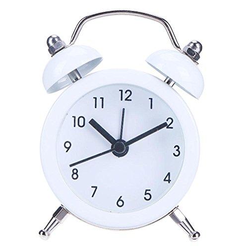 demiawaking 5,1cm Silent geräuschlos Wecker Twin Bell Retro Mini Nachttisch Analog Quarz Wecker Uhr Kids Wake Up Uhr mit lautem Bell weiß