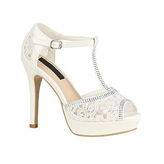 Damen Schuhe Sandaletten Plateau High Heels Metallic Stilettos 155946 Weiss Spitze Strass 39 Flandell