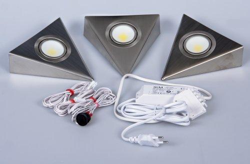 IKM LED Dreieckleuchte Edelstahl 3-er-Set (mit Zentralschalter) 59302321/B