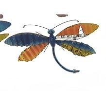 tfh wanddeko libelle bunt xxl metall wandverzierung gartendeko modern ausgefallen deko rostdeko gartendeko blau