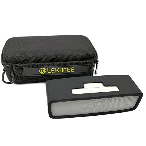 Lekufee étui Sac Housse et étui de Protection avec Couverture Souple Noire pour Bose Soundlink Mini 1 ou 2