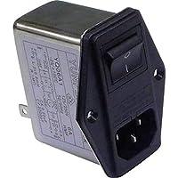 YUNPEN YQ06A1 Filtro de Red con Conector, con Interruptor, con 2 fusibles 250 V/AC 6 A 0,8 MH (L x A x A) 68 x 52.5