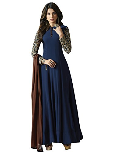 Designer Desk Beautiful Embroidered Georgette Long Anarkali Dress for Parties and Weddings-Elegant Semi-Stitched Salwar Suit for Women  available at amazon for Rs.1499