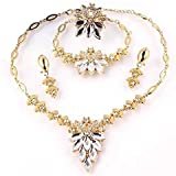 Jewelry Sets gold-plated and crystal pieces (four pieces)