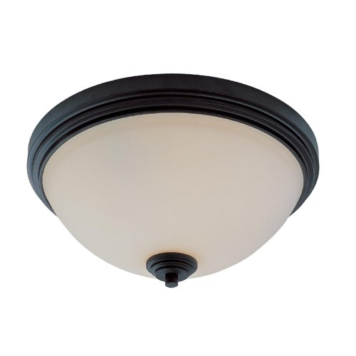 Dark-metal-finish (Z-Lite 314F3-BRZ Chelsey Three Light Flush Mount, Metal Frame, Dark Bronze Finish and Matte Opal Shade of Glass Material by Z-Lite)
