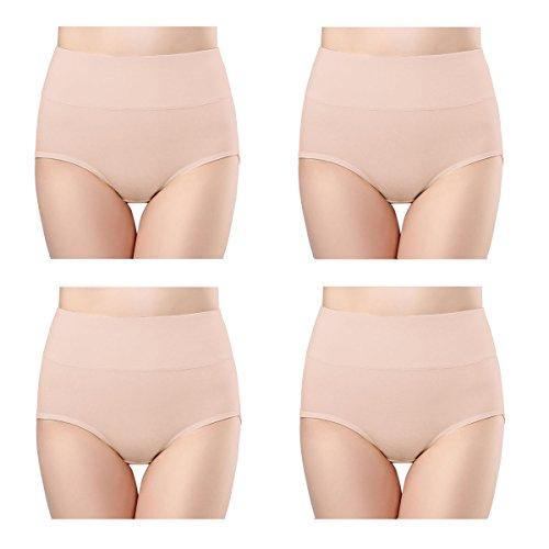 wirarpa Damen Unterhosen Baumwolle Hautfarbe 4er Pack Slips Damen mit Hoher Taille Atmungsaktive Taillenslip Größe 48-50
