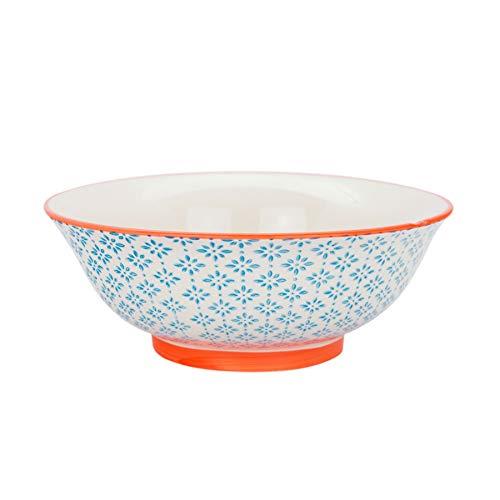 Saladier orné de motifs - 203 mm - imprimé bleu/orange