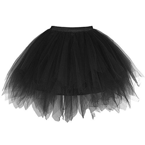 sumuya Retro Petticoat Tutu Damenrock Tüllrock 50er Kurz Ballet Tanzkleid Unterkleid Cosplay Crinoline Petticoat für Rockabilly Kleid Black (Alle Black Bunny Kostüme)