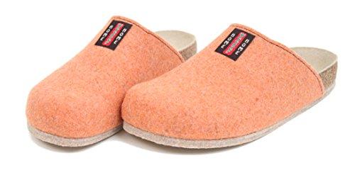 Bio Filz Pantoffel TWEED mit Fußbett & ABS-Filzsohle Gr. 36 - 47 Orange