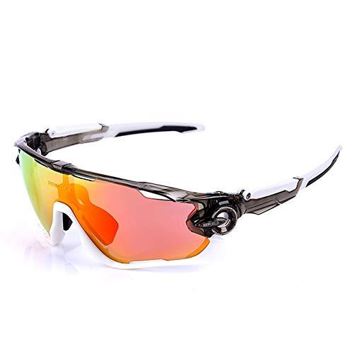FELICIOO Herren/Damen Sport Fahrradbrille Sonnenbrille Mit 2 Wechselgläsern (Farbe : C)