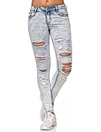 ArizonaShopping - Jeans Donne Jeans Pantaloni Tubolare Distrutto strappati D2352