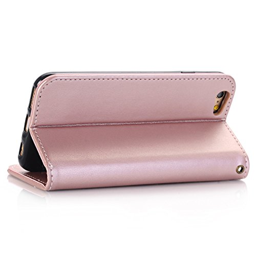 EKINHUI Case Cover Rose Blumen geprägtes Muster Premium PU Leder Geldbörse Fall, Folio Flip Stand Case Cover mit Halter & Card Slots & Magnetverschluss für iPhone 6 & 6s ( Color : Red ) Rosegold