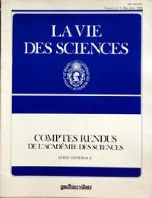VIE DES SCIENCES du 01/05/1989 - COMPTES RENDUS DE L'ACADEMIE DES SCIENCES IMAGERIE DE LA CROUTE TERRESTRE PAR SISMIQUE REFLEXION VERTICALE PROFONDE PAR CH. BOIS LES NOUVEAUX SUPRACONDUCTEURS ET LEURS POTENTIELLES PAR AIGRAIN - L'OPTIQUE ONDULATOIRE MODERNE PAR M. FRANCON LE ROLE DE PERE - PROPOS D'UN BIOLOGISTE PAR JOST - ANDRE GUINIER par Collectif