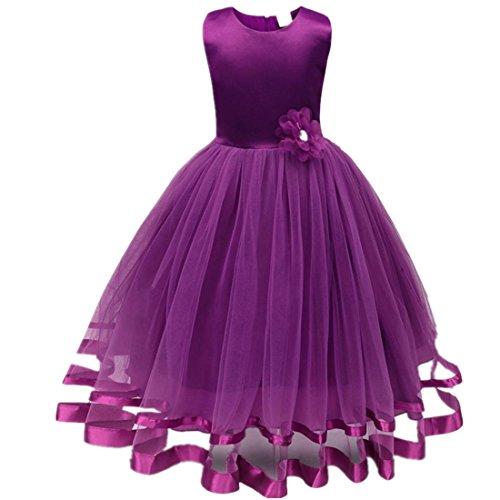 (Mädchen Prinzessin Kleid Sannysis Blumenmädchenkleid Mädchen Prinzessin Kinderkleid Partykleid Tutu Tüll Kleid Party Brautkleid (Lila-Prinzessin, 120))