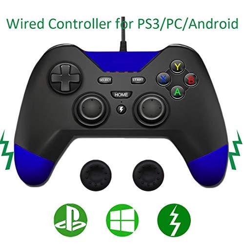PS3 verdrahteter Controller,Dualshock 2M/6.5FT USB Spiel-Joystick PS3 Controller kompatibel für Sony PlayStation3/PS3 /PC/Android-OTG-Controller von Jazane(Blau)