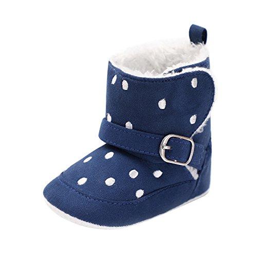 ❤️ Botas de Nieve, Primer Paso para los niños, Baby Girl Boy Soft Spot Print Boot Botas de Nieve Infant Toddler Warming Crib Shoes Absolute