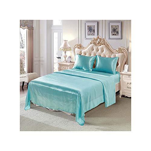GYYbling 4 Stück Satin Seide Bettlaken Weiche King-Bett Spannbettuch Set Bohemian Bettwäsche Home Textile Blatt-Satz, Blau, Königin -