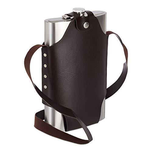 Relaxdays XXL Flachmann aus Edelstahl, hochwertige Taschenflasche zum Umhängen, 1,8l Fassungsvermögen, Partyspaß, Silber, H x B x T: ca. 29 x 18 x 5,5 cm