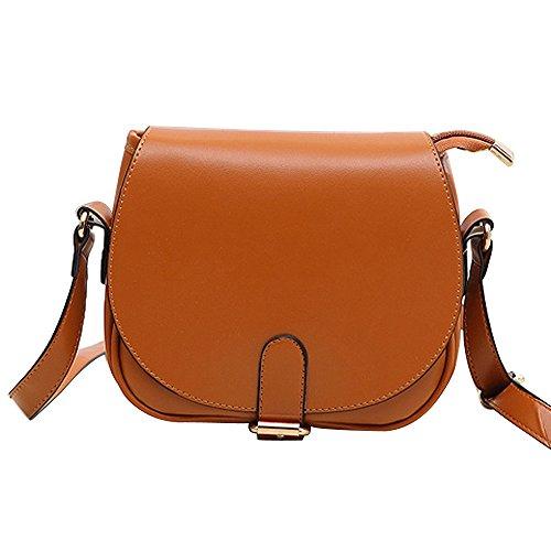 Longra Nuova spalla delle donne in pelle pochette borsetta Marrone