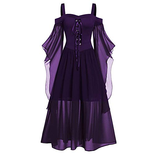 Aiserkly Damen Halloween Kleid Plus Size Cold Shoulder Gothic Kleid mit Schmetterlingsärmeln Hexenkostüm Mittelalter Renaissance Kostüm Cosplay Karneval Fasching Dunkelviolett 5XL -
