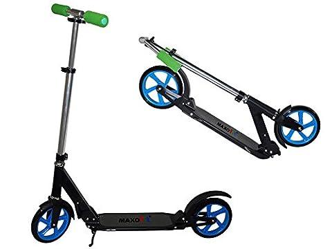 MAXOfit® Street Scooter Big 205 Tretroller Rahmen schwarz, Felgen blau,