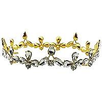 Frcolor Barroco Novia Corona Tiara Cristal Novia Redonda Diadema Boda Tiara Corona Completa Accesorios de Boda (Dorado)