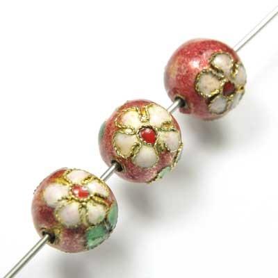 Perle ronde cloisonnée 12mm rose