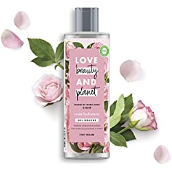 Love Beauty And Planet Gel Douche Femme Rosée Hydratante, Beurre de Muru Muru et Rose, Certifié Vegan 400 ml