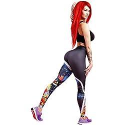Levifun Pantalones Yoga Mujeres Polainas Deportivas Mujer,Imprimir Sólido Mujer Deporte Pantalones Fitness Mujer Gym Pantalon Yoga EláSticos Bombachos para Mujeres Running Pilates Fitness (Negro, M)