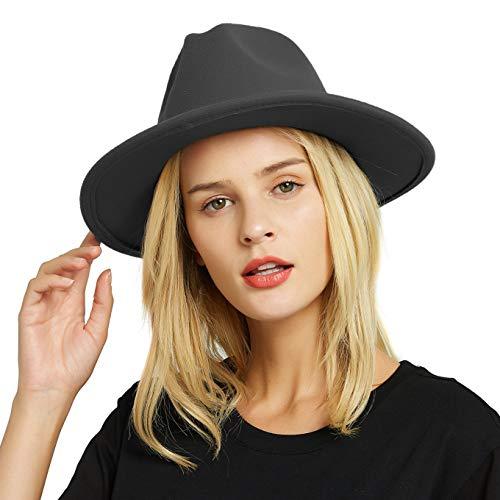 EINSKEY Fedora Hut Herren Damen Baumwolle Breiter Krempe Filzhut Panama Hut mit Gürtelschnalle Fedora