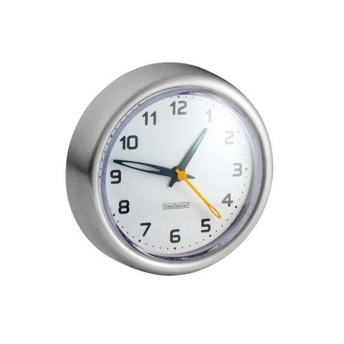 InterDesign Forma Uhr mit Saugnapf für Dusche oder Badewanne - Edelstahl Gebürstet