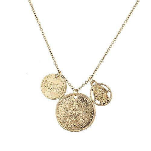 LUX Zubehör Gold Münzen Hinduismus Charm Halskette (Inhaber Münze Leder)