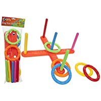 sports PLASTIC GARDEN QUOITS GAME 5 HOOP RING TOSS RING TOSS POOL TOY OUTDOOR FUN SET