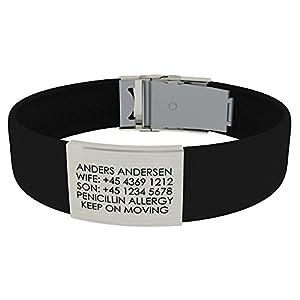 Djuva ID Armband (Modell Beat Trim) – Personalisierte ID, größenverstellbares Identifikationsarmband, ID Armband und Sport ID