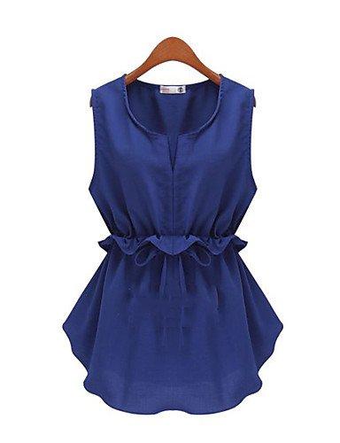 GSP-Camicia Da donna Rotonda Senza maniche Lino , blue-3xl , blue-3xl