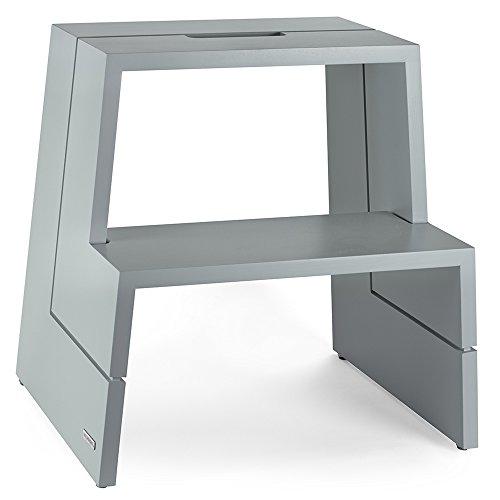 Preisvergleich Produktbild NATUREHOME Design-Tritthocker Massivholz Buche Grau Sitzhocker Holz
