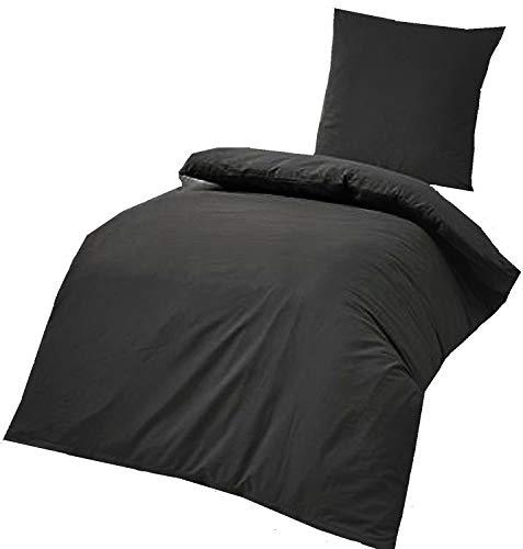 4-Teilige hochwertige Renforcé-Bettwäsche UNI in Schwarz 2x 135×200 Bettbezug + 2x 80×80 Kissenbezug , 100% Baumwolle