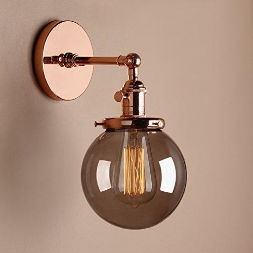 Pathson Antik Deko Design Kleine Kugel Grau Glas innen Wandbeleuchtung Wandleuchten Loft-Wandlampen Wandbeleuchtung (Kupfer Farbe)
