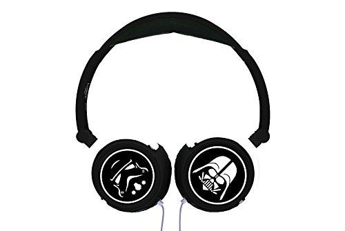 Star Wars Auriculares estéreo diadema, casco audio plegable, color negro (Lexibook HP015SW)