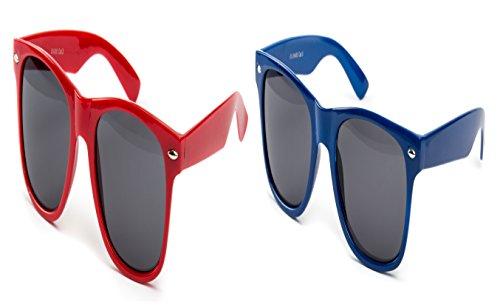 2 er Set Nerd Sonnenbrille Festival Partybrille Brille Sonnenbrillen Retro Rot Dunkel Blau
