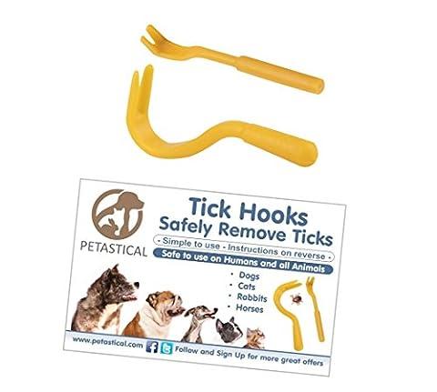 Petastical Tick Remover pour chiens, chats, chevaux, les animaux et les êtres humains–Tick Remover Outil Lot de 2avec de petits et grands crochets à tiques