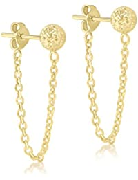 Carissima Gold Women's 9 ct Yellow Gold Diamond Cut 6 mm Ball And Chain Stud Earrings