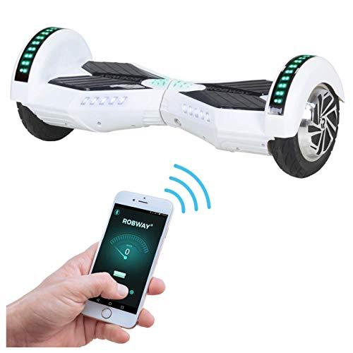 Robway W2 Hoverboard - Das Original - Samsung Marken Akku - Self Balance - Bluetooth - 2 x 350 Watt Motoren – 8 Zoll Räder (Weiß Matt)