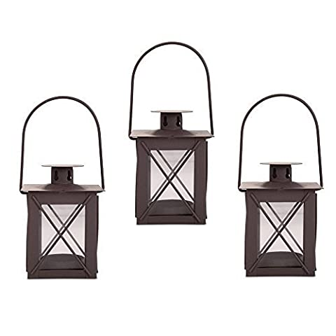Small Traditional Metal & Glass Lantern with Handle Tealight Candle Holder