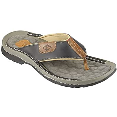 Lee Cooper Men's Black Leather Flip Flops Thong Sandals - 11 UK
