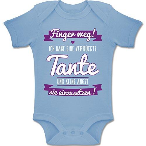 Shirtracer Sprüche Baby - Ich Habe eine Verrückte Tante Lila - 6-12 Monate - Babyblau - BZ10 - Baby Body Kurzarm Jungen Mädchen