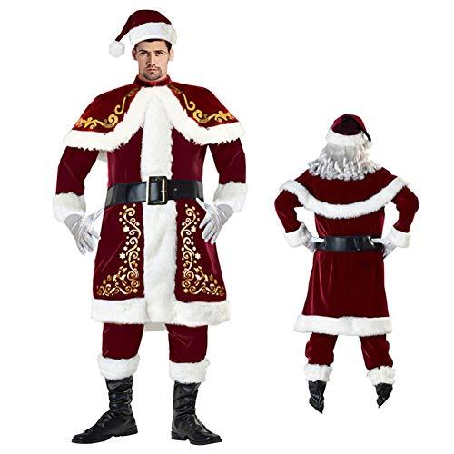 Weihnachtspär-Kostüme, Weihnachtsmann-Kostüme, Männer, Frauen, Plüsch-Uniform-Set für Weihnachten Cosplay Anzug Kleid Kostüm und Glocke Bart-Requisite, Weihnachts-Party-Zubehör xl ()