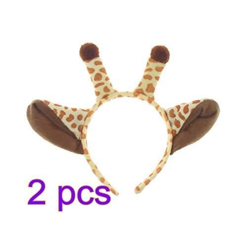 Toyvian Giraffe Horn Stirnbänder Tierohren Haarbänder Weihnachten Halloween Geburtstagsparty Kopfbedeckungen Für Erwachsene Kinder 2 - Giraffe Hörner Kostüm