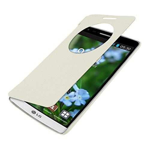 kwmobile Flip Case Hülle für LG G3 S D722V mit Sichtfenster - Aufklappbare Schutzhülle im Flip Cover Style in Weiß