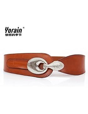 SILIU*La Sra. cinturilla ancha correa de cuero en la falda fajas decoradas estirar el muelle tensor de correa...